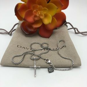 David Yurman Classic Cross Necklace With D…